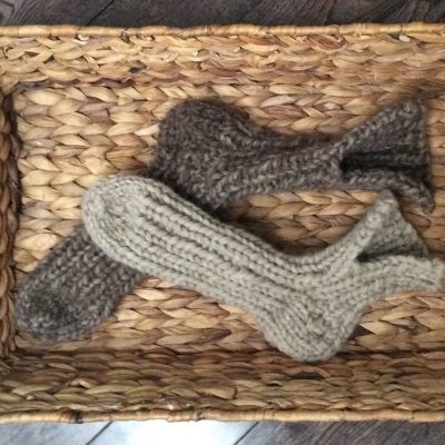 Bio Bee 100% wool knitted slippers